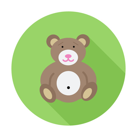 bear doll: Bear toy icon. Flat vector related icon with long shadow for web and mobile applications. It can be used as -  pictogram, icon, infographic element. Vector Illustration.