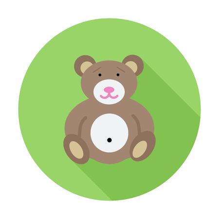 oso de peluche: Tenga icono juguete. Vector plana icono relacionado con la larga sombra para web y aplicaciones móviles. Se puede utilizar como - pictograma, icono, elemento de infografía. Ilustración del vector.