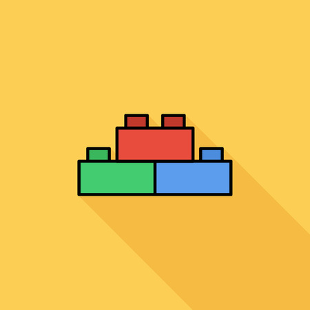 wood blocks: Building block icon. Flat vector related icon with long shadow for web and mobile applications. It can be used as -  pictogram, icon, infographic element. Vector Illustration.