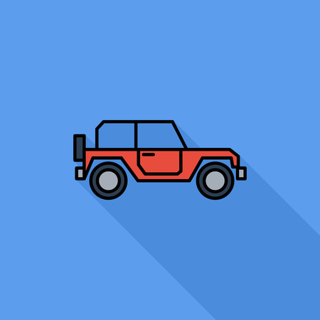 offroad car: Offroad car icon. Flat vector related icon with long shadow for web and mobile applications. It can be used as -  pictogram, icon, infographic element. Vector Illustration.