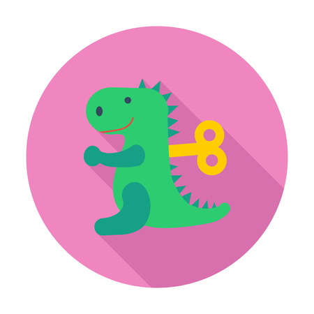 animated alien: Dinosaurus toy icon. Flat vector related icon with long shadow for web and mobile applications. It can be used as -   pictogram, icon, infographic element. Vector Illustration. Illustration