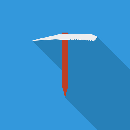ice axe: Ice axe icon. Flat vector related icon with long shadow for web and mobile applications. It can be used as -   pictogram, icon, infographic element. Vector Illustration.