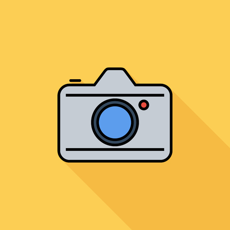 reflex camera: Camera icon. Flat vector related icon with long shadow for web and mobile applications. It can be used as - logo, pictogram, icon, infographic element. Vector Illustration.
