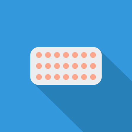 contraceptive: Contraceptive pills icon. Flat vector related icon with long shadow for web and mobile applications. It can be used as - logo, pictogram, icon, infographic element. Vector Illustration.