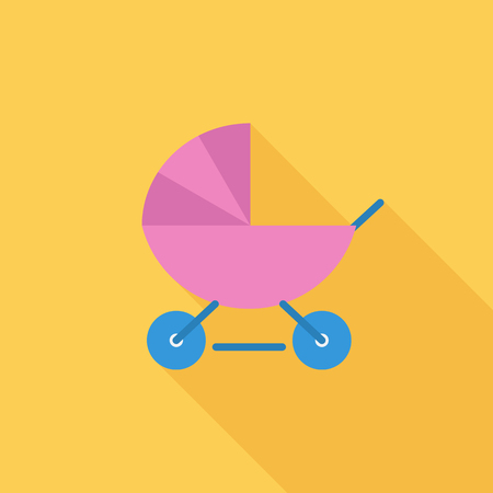 suckling: Pram icon. Flat vector related icon with long shadow for web and mobile applications. It can be used as -   pictogram, icon, infographic element. Vector Illustration. Illustration