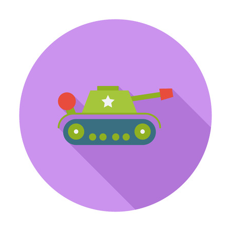 trooper: Tank toy icon. Flat vector related icon with long shadow for web and mobile applications. It can be used as -  pictogram, icon, infographic element. Vector Illustration.