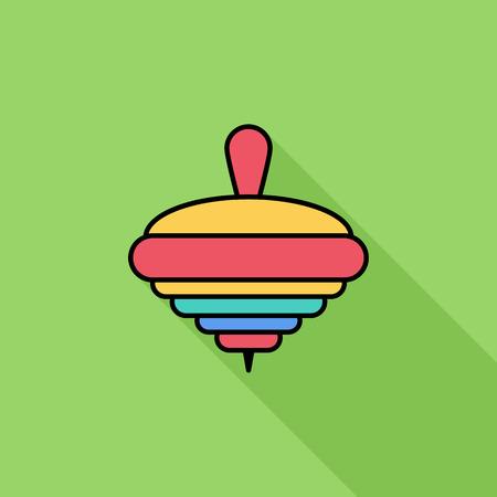 molinete: icono de la perinola. vector plana icono relacionado con una larga sombra para web y aplicaciones m�viles. Se puede utilizar como - pictograma, icono, elemento de infograf�a. Ilustraci�n del vector. Vectores