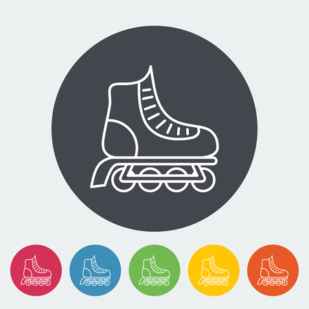 rollerskate: Roller skate icon. Thin line flat vector related icon for web and mobile applications. It can be used as -   pictogram, icon, infographic element. Vector Illustration.
