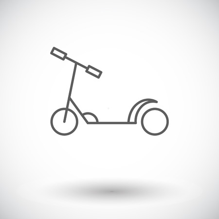 glide: Scooter child icon. Thin line flat vector related icon for web and mobile applications. It can be used as -   pictogram, icon, infographic element. Vector Illustration. Illustration