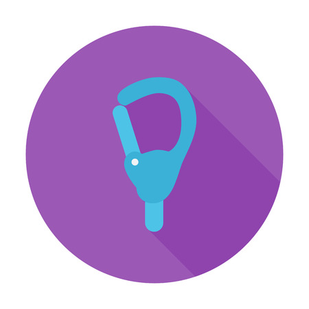 karabiner: Carabiner icon. Flat vector related icon with long shadow for web and mobile applications. It can be used as - pictogram, icon, infographic element. Vector Illustration.