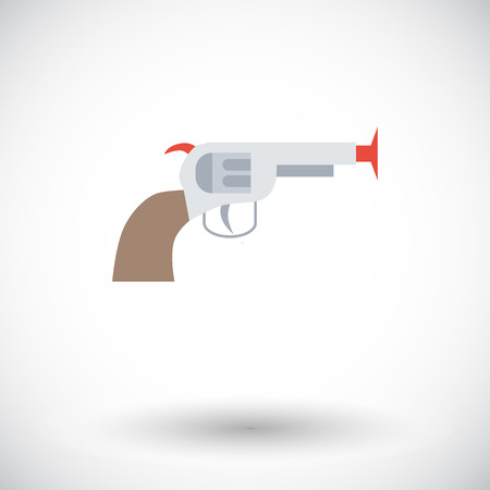 futuristic pistol: Gun toy icon. Thin line flat vector related icon for web and mobile applications. It can be used as -   pictogram, icon, infographic element. Vector Illustration.