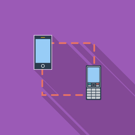 synchronize: Phone sync icon. Flat vector related icon with long shadow for web and mobile applications. It can be used as -  pictogram, icon, infographic element. Vector Illustration. Illustration