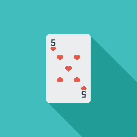 double game: Play card icon. Flat vector related icon with long shadow for web and mobile applications. It can be used as -  pictogram, icon, infographic element. Vector Illustration.