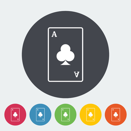 play card: Play card. Single flat icon on the circle button. Vector illustration.
