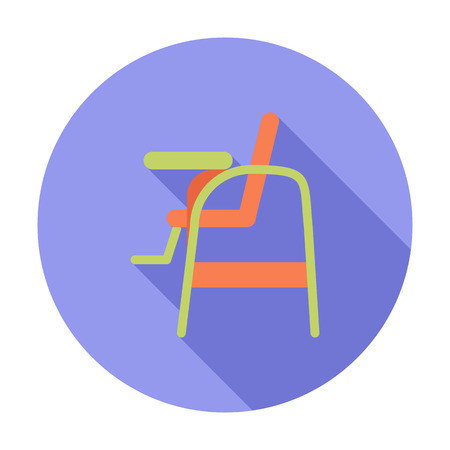 high chair: Chair for baby icon. Flat vector related icon with long shadow for web and mobile applications.   Illustration