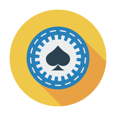 wheel of fortune: Gambling chips icon. Flat vector related icon with long shadow for web and mobile applications.