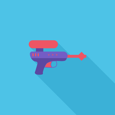 futuristic pistol: Gun toy icon. Flat vector related icon with long shadow for web and mobile applications.