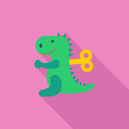 animated alien: Dinosaurus toy icon. Flat vector related icon with long shadow for web and mobile applications.  infographic element. Vector Illustration.