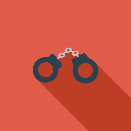 detainee: Handcuffs icon. Flat vector related icon with long shadow for web and mobile applications.