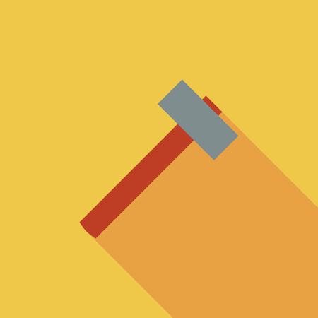 disruption: Hammer icon. Flat vector related icon with long shadow for web and mobile applications.