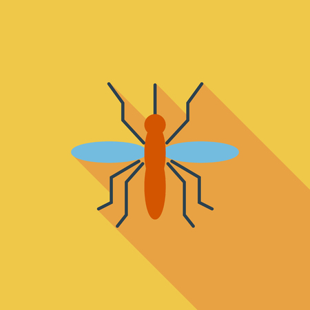 infect: Mosquito icon. Flat vector related icon with long shadow for web and mobile applications.