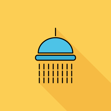 showering: Shower icon. Flat vector related icon with long shadow for web and mobile applications.   Illustration