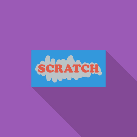 scratch card: Scratch card icon. Flat vector related icon with long shadow for web and mobile applications.  Illustration
