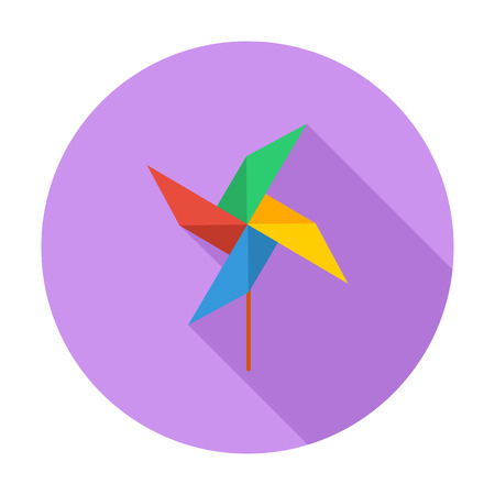 toys pattern: Whirligig icon. Flat vector related icon with long shadow for web and mobile applications.