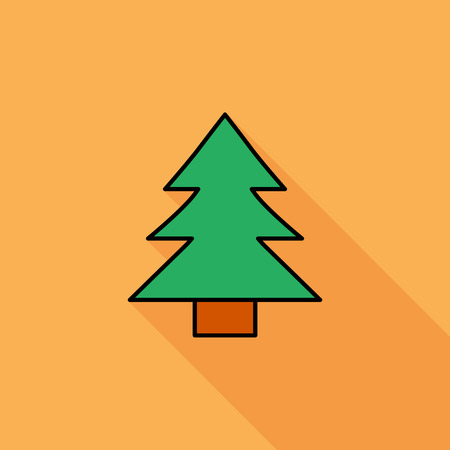 conifer: Conifer icon. Flat vector related icon with long shadow for web and mobile applications