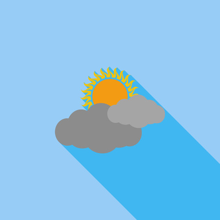 cloudiness: Cloudiness icon. Flat vector related icon with long shadow for web and mobile applications. Illustration