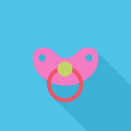 comforter: Nipple icon. Flat vector related icon with long shadow for web and mobile applications.
