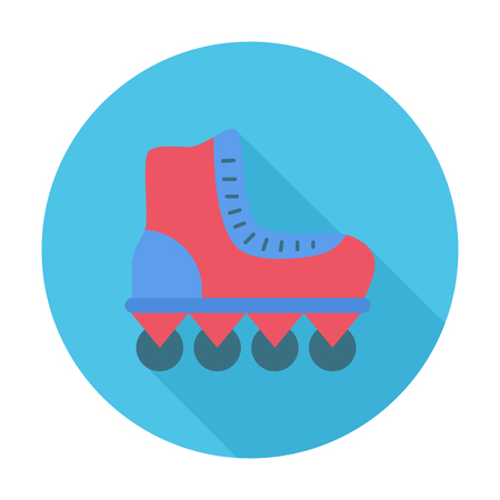 roller skate: Roller icon. Flat vector related icon with long shadow for web and mobile applications.