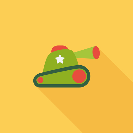 trooper: Tank toy icon. Flat vector related icon with long shadow for web and mobile applications.