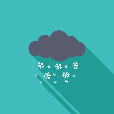 meteorologist: Snowfall icon. Flat vector related icon with long shadow for web and mobile applications.