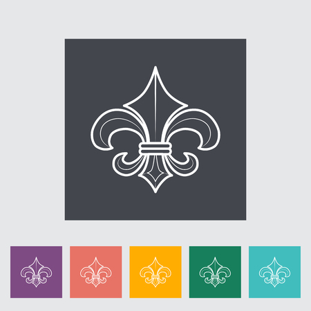 royal french lily symbols: Fleur. Single flat icon on the button. Vector illustration. Illustration
