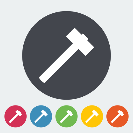 hobnail: Hammer. Single flat icon on the circle button. Vector illustration.