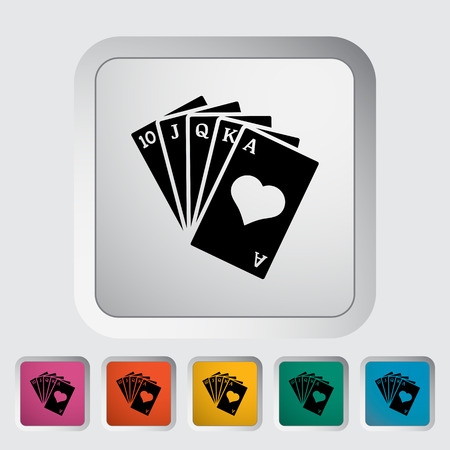 double the chances: Poker. Single flat icon on the button. Vector illustration.