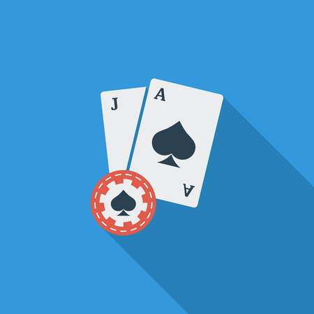 wagers: Blackjack icon. Flat vector related icon with long shadow for web and mobile applications. It can be used as - logo, pictogram, icon, infographic element. Vector Illustration.
