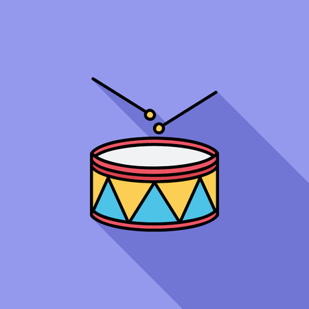 drumming: Drum icon. Flat vector related icon with long shadow for web and mobile applications. It can be used as - logo, pictogram, icon, infographic element. Vector Illustration.