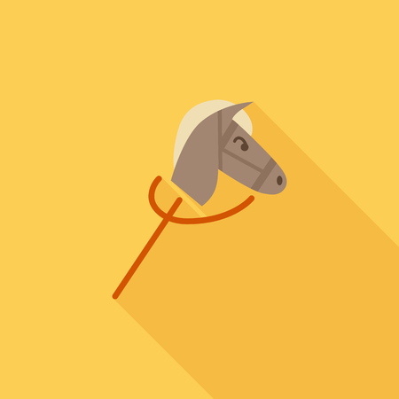 old cowboy: Horse toy icon. Flat vector related icon with long shadow for web and mobile applications. It can be used as - logo, pictogram, icon, infographic element. Vector Illustration. Illustration