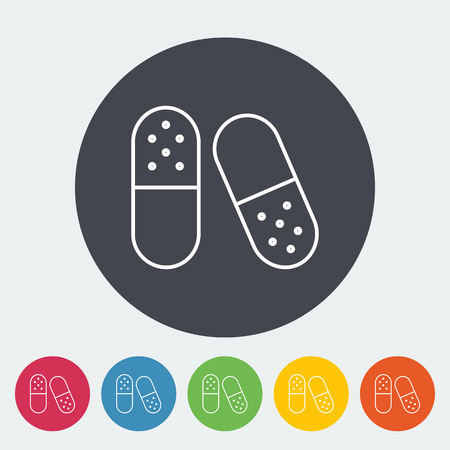 a tablet blister: Pills icon. Thin line flat vector related icon for web and mobile applications. It can be used as - logo, pictogram, icon, infographic element. Vector Illustration. Illustration