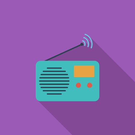 fm radio: Radio icon. Flat vector related icon with long shadow for web and mobile applications. It can be used as - logo, pictogram, icon, infographic element. Vector Illustration. Illustration