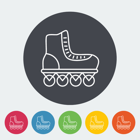 rollerskate: Roller skate icon. Thin line flat vector related icon for web and mobile applications. It can be used as - logo, pictogram, icon, infographic element. Vector Illustration. Illustration