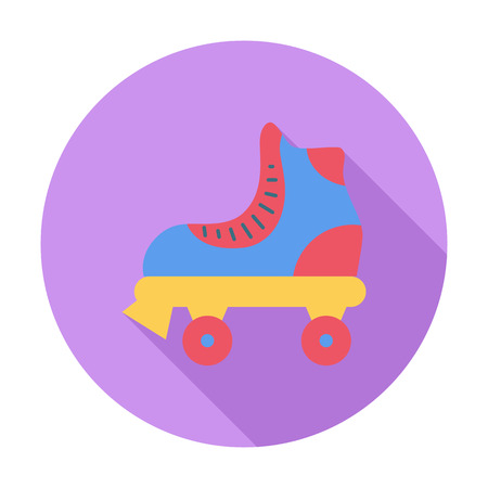 rollerskate: Roller icon Flat related icon with long shadow for web and mobile applications.