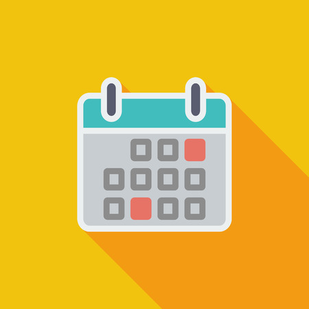 agenda: Calendar icon. Flat vector related icon with long shadow for web and mobile applications.