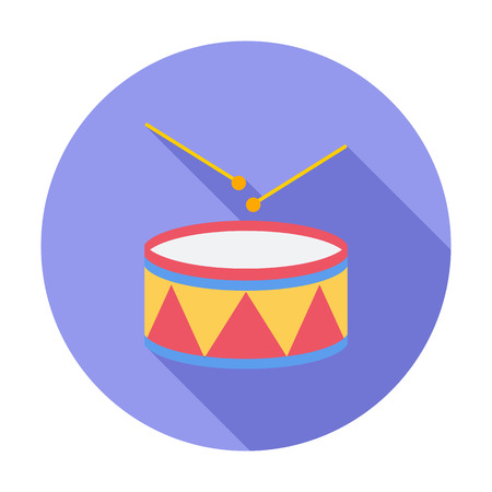drumming: Drum icon. Flat vector related icon with long shadow for web and mobile applications. Illustration