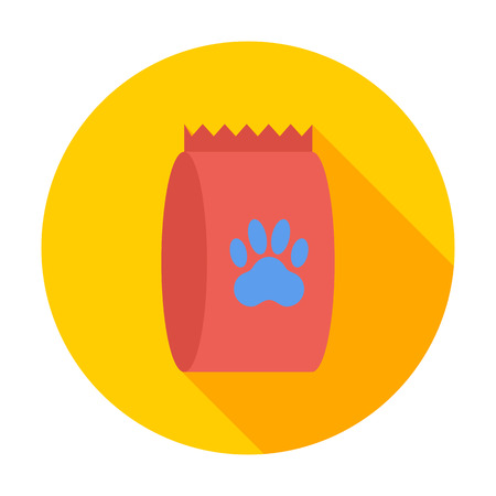 petshop: Pet food bag icon. Flat vector related icon with long shadow for web and mobile applications.