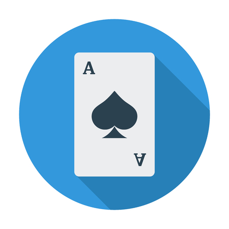 double the chances: Play card icon. Flat vector related icon whit long shadow for web and mobile applications.