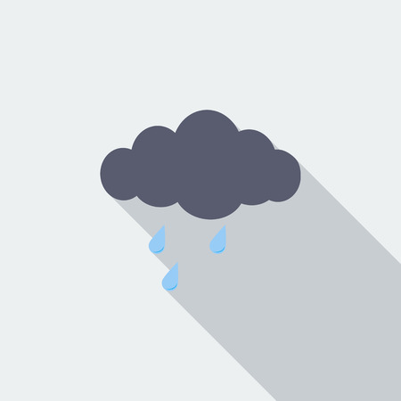 cloudburst: Rain icon. Flat vector related icon with long shadow for web and mobile applications.
