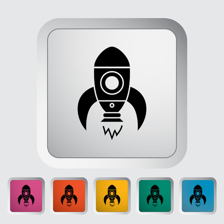 booster: Rocket thin line flat vector related icon for web and mobile applications.  Illustration